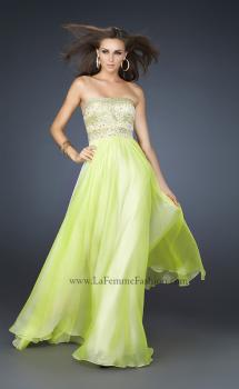 Picture of: Full Length Chiffon Gown with Beaded and Sequined Bust in Green, Style: 17657, Main Picture