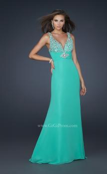 Picture of: Form Fitting Chiffon V Neck Dress with Beaded Bust in Green, Style: 17665, Main Picture