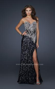 Picture of: Elegant Strapless Dress with Beads and a Sequin Skirt in Black, Style: 17669, Main Picture