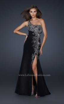 Picture of: One Shoulder Taffeta Gown with Embellishments and Slit, Style: 17680, Main Picture