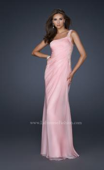 Picture of: One Shoulder Strap Dress with Pleating and Beading in Pink, Style: 17684, Main Picture