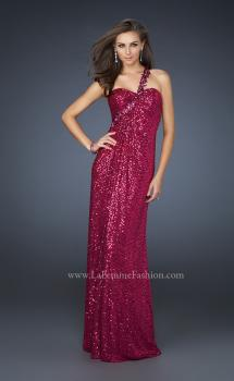 Picture of: Full Length Sequin V Neck Prom Gown with Ruching in Pink, Style: 17697, Main Picture