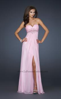 Picture of: Chiffon Empire Waist Prom Dress with Beads and Slit in Pink, Style: 17712, Main Picture
