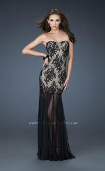 Picture of: Strapless Lace Prom Dress with See Through Net Bottom in Black, Style: 17713, Main Picture