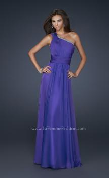 Picture of: One Pleated Shoulder Strap Dress with Beading in Purple, Style: 17718, Main Picture