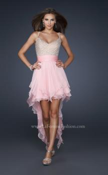 Picture of: V Neck Spaghetti Strap Gown with High Low Hem in Pink, Style: 17732, Main Picture