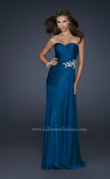 Picture of: Chiffon Prom Dress with Sweetheart Neckline and Pleats in Blue, Style: 17740, Main Picture