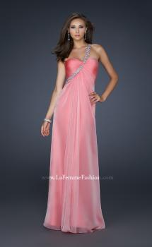 Picture of: Long Chiffon Gown with Embellished One Shoulder Strap in Pink, Style: 17803, Main Picture