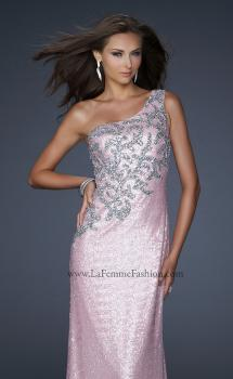 Picture of: One Shoulder Sequined Gown with Embellishments, Style: 17804, Main Picture