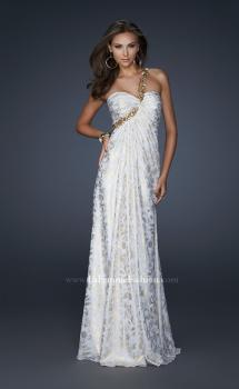 Picture of: One Shoulder Beaded Flower Strap Prom Dress in White, Style: 17805, Main Picture