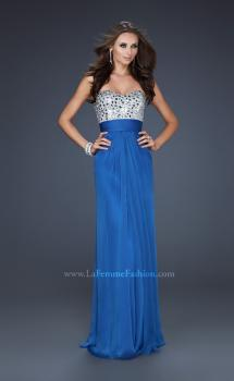 Picture of: Flowing Chiffon Prom Dress with Hand Beaded Top in Blue, Style: 17909, Main Picture