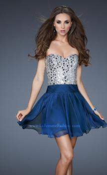 Picture of: Sexy Chiffon Cocktail Dress with Beaded Bust in Blue, Style: 17953, Main Picture