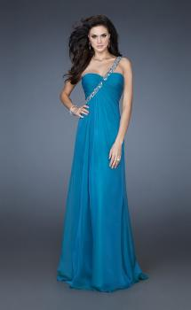 Picture of: Chiffon A-line Dress with Beaded One Shoulder Strap in Blue, Style: 17966, Main Picture