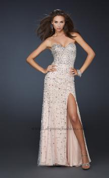 Picture of: Full Length Strapless Sweetheart Gown with Hand Beading in Nude, Style: 17975, Main Picture