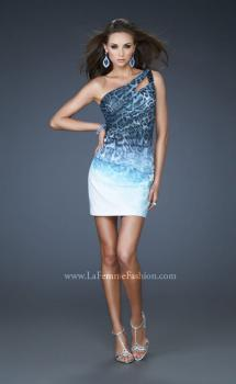 Picture of: One Shoulder Ombre Animal Print Cocktail Dress in Print, Style: 18029, Main Picture