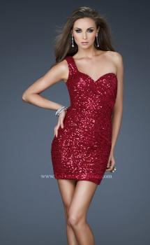 Picture of: Sequined One Shoulder Mini Dress with Gathering, Style: 18038, Main Picture
