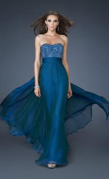 Picture of: A-line Chiffon Dress with Beaded One Shoulder Strap in Blue, Style: 18066, Main Picture