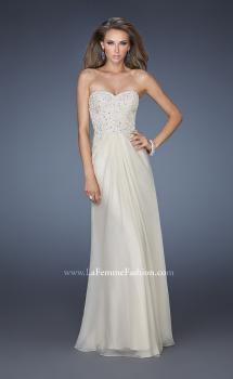 Picture of: Strapless Jeweled Prom Gown with Chiffon Overlay, Style: 18069, Main Picture