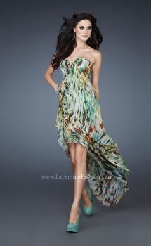 Picture of: Strapless Print Dress with High Low Hem and Pleating in Print, Style: 18078, Main Picture