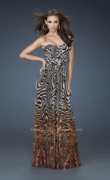 Picture of: Animal Inspired Strapless Gown with High Belted Waist in Print, Style: 18142, Main Picture
