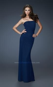Picture of: Chic Strapless Net Gown with Ruched Top and Gathering in Blue, Style: 18160, Main Picture