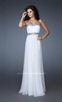 Picture of: Chiffon Prom Gown with Beaded Neckline and Empire Waist in White, Style: 18241, Main Picture