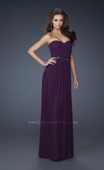 Picture of: Chic Net Prom Dress with Belted Empire Waist in Purple, Style: 18257, Main Picture