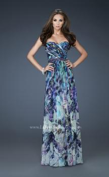 Picture of: Strapless Print Gown with Pleated Bodice and Rhinestones in Print, Style: 18259, Main Picture