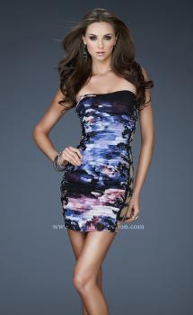 Picture of: Strapless Printed Cocktail Dress with Sequins in Print, Style: 18260, Main Picture
