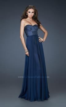 Picture of: Strapless Chiffon Gown with Sequined Bodice and Stones in Blue, Style: 18262, Main Picture