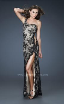 Picture of: Sexy Lace Gown with High Slit and Scalloped Hem in Black, Style: 18263, Main Picture