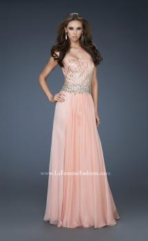 Picture of: Strapless Chiffon Gown with Beaded Bodice and Rhinestones in Orange, Style: 18273, Main Picture