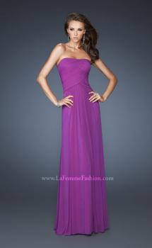 Picture of: Strapless Net Gown with Strappy Back and Rhinestones in Purple, Style: 18277, Main Picture