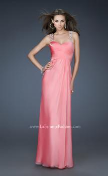Picture of: Chic Chiffon Gown with Ruched Bodice and Open V Back in Pink, Style: 18280, Main Picture