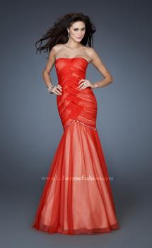 Picture of: Strapless Net Dress with Criss Cross Ruching and Stones, Style: 18282, Main Picture
