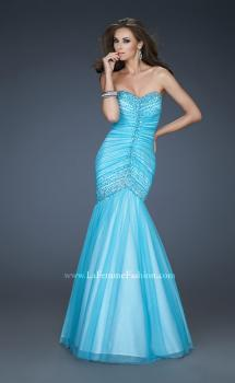 Picture of: Sweetheart Neckline Net Prom Gown with Trumpet Skirt in Blue, Style: 18286, Main Picture