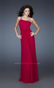 Picture of: One Shoulder Net Gown with Beaded Straps and Cut Outs in Pink, Style: 18288, Main Picture