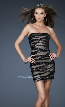 Picture of: Strapless Mini Dress with Sequins and Beading in Black, Style: 18296, Main Picture