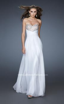 Picture of: Strapless Chiffon Gown with Fitted Empire Waist in White, Style: 18304, Main Picture