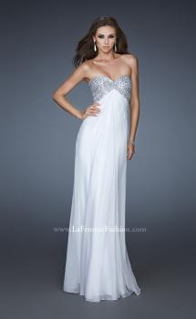 Picture of: Sequined Bodice Prom Dress with Cut Out Back in White, Style: 18313, Main Picture