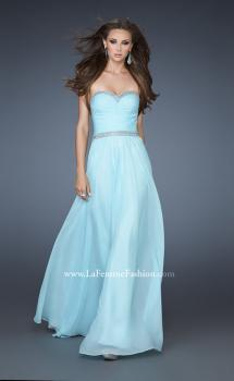 Picture of: Chiffon Prom Gown with Pleats, Sequins, and Rhinestones in Blue, Style: 18325, Main Picture