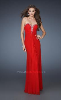 Picture of: Pleated Net Prom Gown with Rhinestone Bodice, Style: 18331, Main Picture