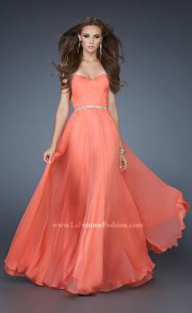 Picture of: Simple Strapless Chiffon Dress with Beaded Waist in Orange, Style: 18332, Main Picture