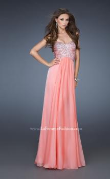 Picture of: Embellished Long Prom Dress with Sequined Bodice in Orange, Style: 18342, Main Picture