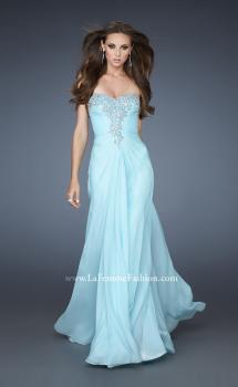 Picture of: Rhinestone Encrusted Dress with Vintage Inspired Pattern in Blue, Style: 18347, Main Picture