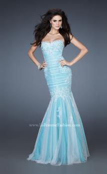 Picture of: Elegant Net Gown with Ruched Bodice and Trumpet Skirt in Blue, Style: 18365, Main Picture