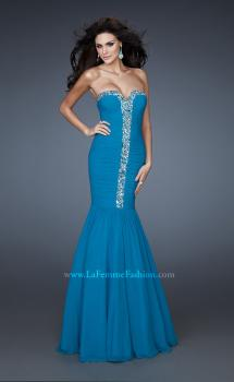 Picture of: Strapless Mermaid Gown with Rhinestone Neckline in Blue, Style: 18366, Main Picture