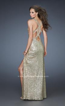 Picture of: Sequin Prom Gown with High Front Slit and Cut Outs in Gold, Style: 18373, Main Picture