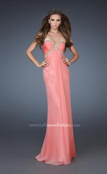 Picture of: Empire Waist Prom Dress with Sequin Design and Cut Outs in Orange, Style: 18390, Main Picture