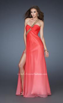 Picture of: One Shoulder Prom Dress with High Front Slit and Beads in Orange, Style: 18398, Main Picture